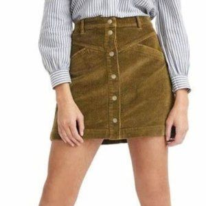 Madewell Corduroy A-Line Snap Mini Skirt in Green